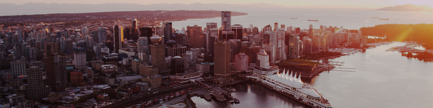 Sunset view of Canada Place and the Vancouver skyline from above