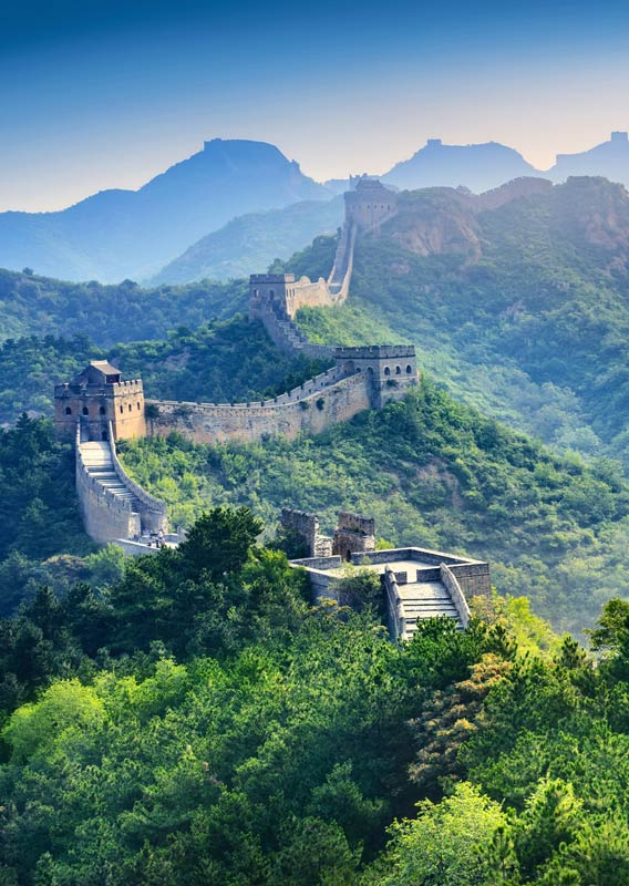 The Great Wall of China surrounded by lush green forests.
