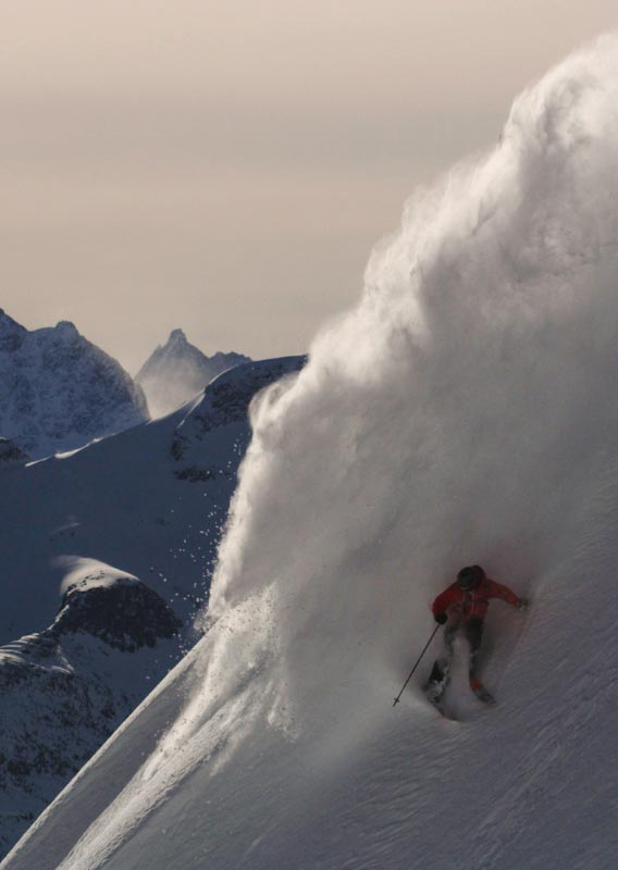 A skiier makes a plume of snow powder on a mountainside.