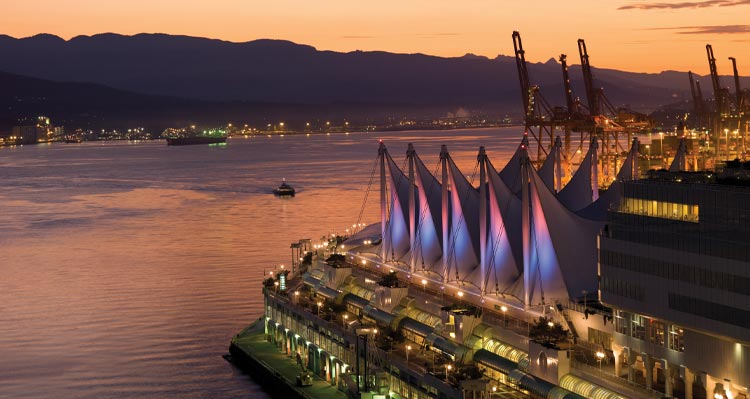 An aerial view of Canada Place on the Vancouver Waterfront.
