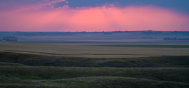a pink and blue sunset over prairie fields
