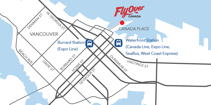 Map showing location of FlyOver Canada at Canada Place in Downtown Vancouver